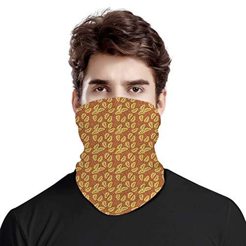 FULIYA Bandana a prueba de viento variedad bufanda de cabeza, follaje y flores patrón con espirales abstractos y curvas, fondo marrón, para mujeres y hombres