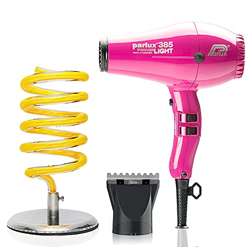 Parlux 385 Pink Powerlight Ionic and Ceramic Hair Dryer, Pibbs Universal Yellow Hair Dryer Holder and M Hair Designs Hot Blow Attachment Silver (Bundle - 3 Items)