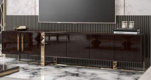 Casa Padrino gabinete TV Art Deco de Lujo marrón Oscuro Brillante/Oro - Mueble de TV Noble para Sala de Estar con 6 Puertas - Muebles Art Deco
