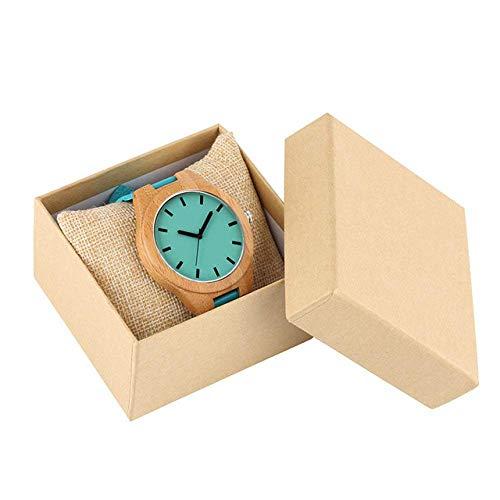 Reloj de Pulsera Reloj de Madera Relojes de Pulsera de Madera de bambú Hombre Reloj Casual Hombre Esfera de Color Azul Correa de Cuero Relojes deporti