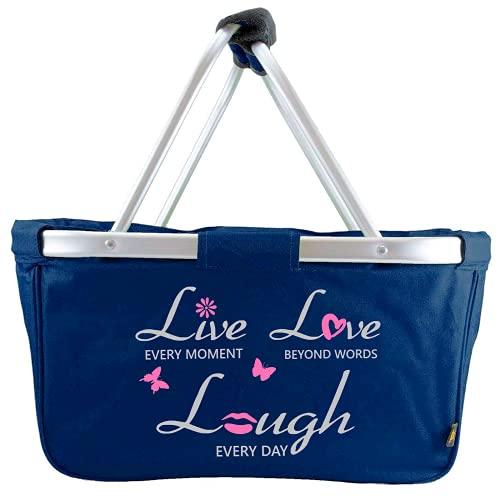 Mein Zwergenland Faltbarer Einkaufskorb Live-Love-Laugh, Korb klappbar 28 L, Faltkorb mit Spruch in Marine blau