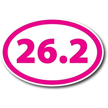 26.2 Marathon Inverted Pink Oval Car Magnet Decal Heavy Duty Waterproof Magnet Me Up