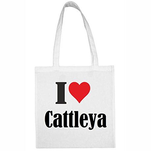 Tasche I Love Cattleya Größe 38x42 Farbe Weiss Druck Schwarz