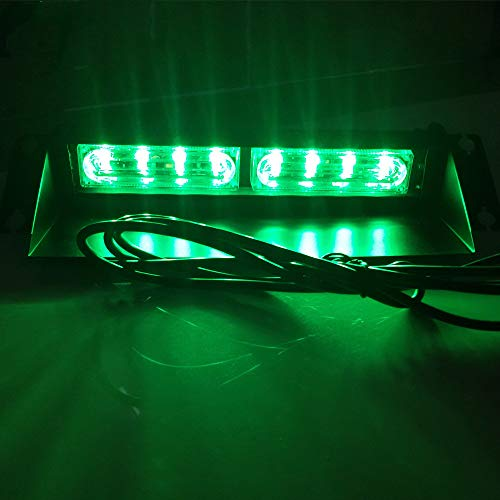 HEHEMM Lampe stroboscopique 8 LED à ventouse pour tableau de bord de voiture (vert)