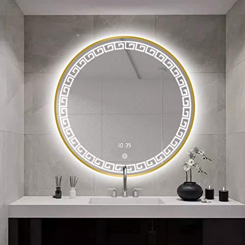 Ping Bu Qing Yun Espejo de baño, cuarto de baño con la frontera, lámpara montada en la pared, anti-niebla, espejo redondo marco de aluminio inteligente, 2 colores y 5 estilos opcionales espejo decorat