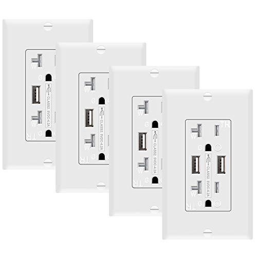 SZICT USB Wall Outlet 4 Pack, UL-listed 4.2A TR Ultra-fast USB Charging Receptacle 2 USB Ports Receptacle Charger, 20A Wall Receptacle Outlet with Wall Plate, White…