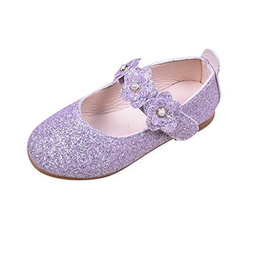 Zapatos de Fiesta Boda para Niñas Primavera Verano 2019 PAOLIAN Sandalias Princesa Vestir Bailarinas Disfraz Morado Calzado Suela Blanda Zapatillas Ballet Lentejuelas EU 24-34