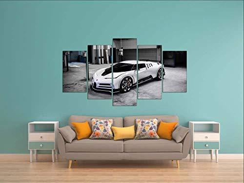 KOPASD Piy Painting 5 Piezas Cuadro sobre Lienzo Imagen Coche Deportivo Bugatti White Impresión Pinturas Murales Decor Dibujo con Marco Fotografía para Oficina Aniversario200x100cm