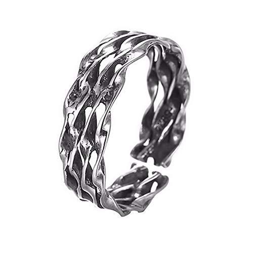 HDDWZH Woman Ring,Vintage Geschnitzte Totem Ring Männer Weibliche Silber Schmuck Frauen Open Leaf Türkische Ringe Für Frauen Böhmen Sommer Schmuck
