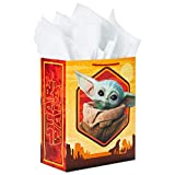 Hallmark 13' Large Star Wars Gift Bag with Tissue Paper (Baby Yoda, The Child, The Mandalorian) for Christmas, Holidays, Birthdays, Baby Showers, Halloween, May the Fourth