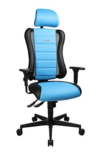 Topstar Sitness RS Büro-/Gaming-/Schreibtisch- Stuhl, inkl. Armlehnen und Kopfstütze, Stoff, blau / schwarz, 60 x 68 x 139 cm