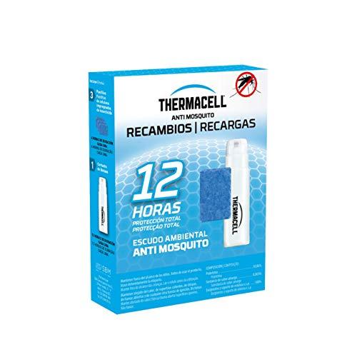 ThermaCELL - Recambio Anti Mosquito, Pack de 12 Horas de protección Incluye 3 Pastillas con Repelente, 1 Cartucho de Gas Compatible con Todos los aparatos