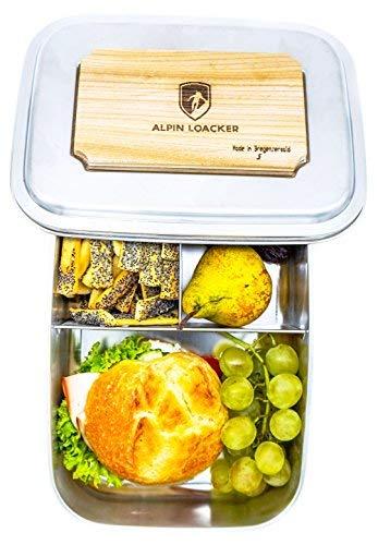 Alpin Loacker Edelstahl Lunchbox Groß 1800ml Brotdose, Bento Box, Vesperdose   mit Fächern, Trennwand   Die große Brotbox zum Wandern, Reisen, Schule, Kindergarten (mit Schneidbrett, 1800ml)