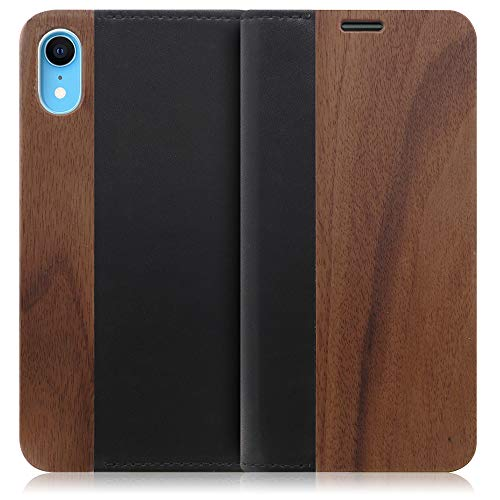 LOOF Nature iPhone XR ケース 手帳型 カバー 天然木 本革 ウッド 手帳型ケース 手帳型カバー 携帯ケース 携帯カバー スマホケース スマホカバー ベルト無し 木製 スタンド機能付き カード収納 カードポケット (胡桃)