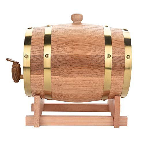 Zerone dispensador de vino, Whisky Barril Barril de vino Barril de madera para whisky o vino, roble, incluye soporte de roble, barrica, roble corcho, madera de roble grifo, 3L, Holzfarbe