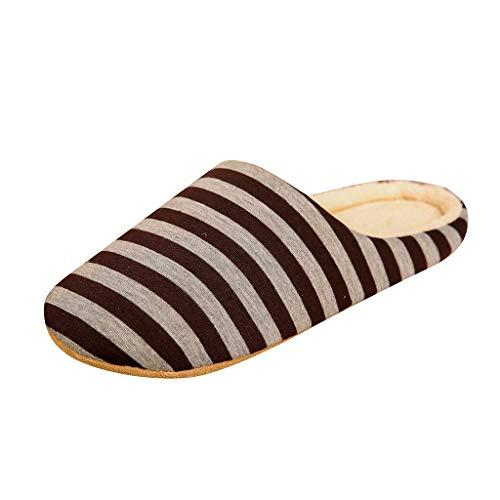 Pantuflas de rayas para hombre: forradas de felpa, cálidas, para interiores, antideslizantes, con suelo...