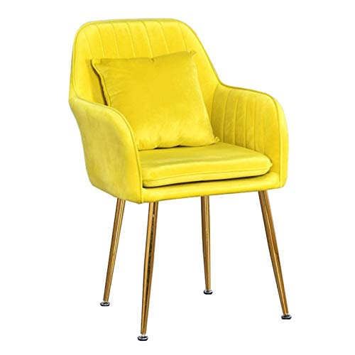 Modern Dining Chair 1/2pcs Sturdy Metal Legs Velvet Fabric Chairs Side Chair with Arms Rest for Dining and Living Room Chairs (Color : Yellow, Size : 1pcs)