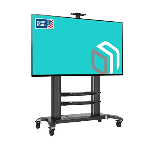 ONKRON Mobile TV Stand Rolling TV Cart for 60' to 100-inch LCD LED Plasma Flat Panel Screens up to 300 lbs Black