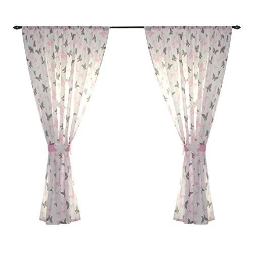 TupTam Kinderzimmer Vorhänge Set mit Zierband und Stern, Farbe: Schmetterlingchen Rosa, Größe: ca. 155x155 cm