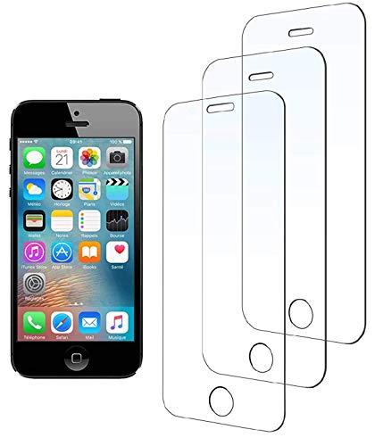 WEOFUN [3 Pezzi]Compatibile con Vetro Temperato iPhone 5 SE 5S 5C [0.33mm, 9H, Alta trasparente]
