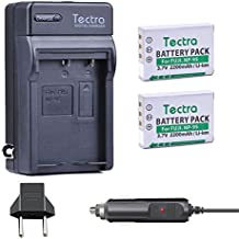Tectra 2 Pack NP-95 Replacement Battery + Wall/Car Charger Compatible with Fujifilm Fujifilm FinePix F30, FinePix F31fd, FinePix Real 3D W1, FinePix X100,X100S,X-S1,X30,X100T,Ricoh GXR
