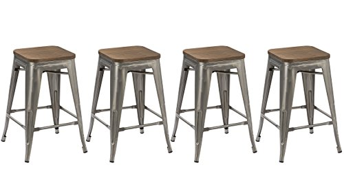 BTEXPERT Set of 4 24-Inch Industrial Stackable Tabouret Metal Vintage Antique Style Clear Brush Distressed Counter Bar Stool Modern Wood Top Seat