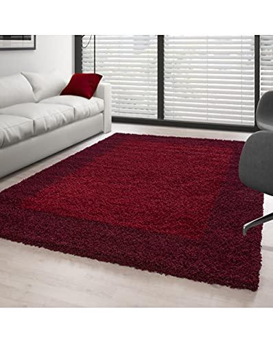 Tapis shaggy à poils longs pour salon - 2 couleurs - Rouge et bordeaux - 160 x 230 cm