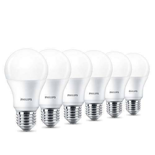 Philips LED - Bombilla, plástico, 9 W, color blanco, Pack x 6 unidades