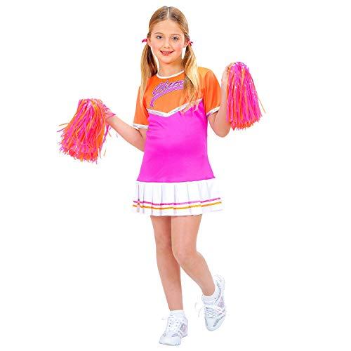 WIDMANN-CHEERLEADER orange/pink (Kleid, 2 Pom Poms) 42016  Disfraz infantil de animadora, vestido con 2 pompones, deporte, escuela, colegio, carnaval, fiesta temtica, color naranja/rosa, 128