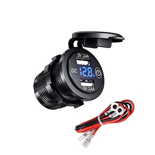 YGL Impermeable Cargador de Coche Dual USB con Interruptor, Toma Corriente USB de 12V / 24V 2.4A y 2.4A con Voltímetro Digital LED para Automóvil, Marina, Barco, Motocicleta, Camión, etc(Azul)