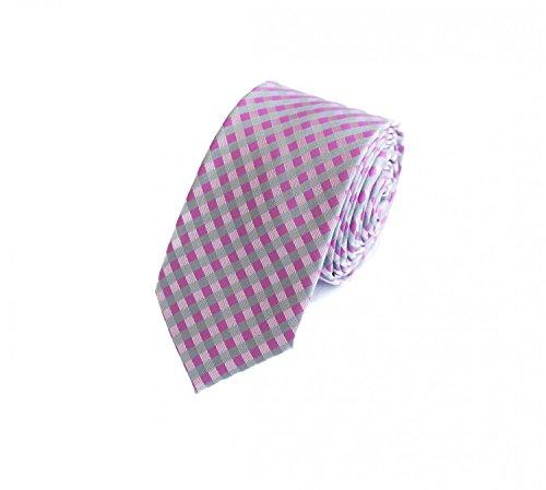 Fabio Farini Étroit 6 cm Cravate de à carreaux rose gris blanc