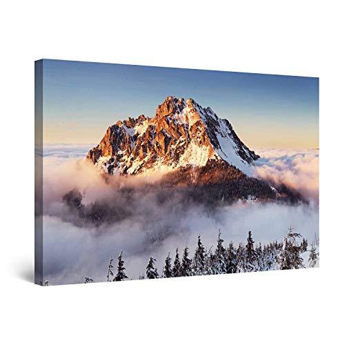 Startonight Cuadro Moderno en Lienzo - Crestas de Montañas Nevadas - Pintura Paisaje para Salon Decoración Grande 80 x 120 cm