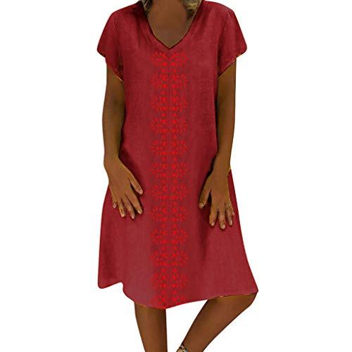 L9WEI Vestido de Verano Vestidos de Lino Vestidos de Playa con Cuello en V para Mujer Vestido de línea a de Color sólido Vestido Bohemio hasta la Rodilla sin Accesorios