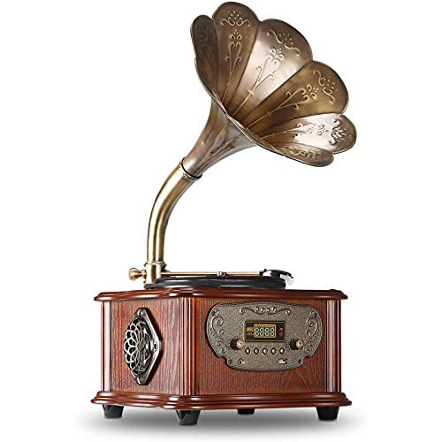 OUUUKL Tocadiscos de Vinilo con Bluetooth, Discos de Vinilo Portátiles 2 Altavoces Incorporados, Reproductor de 3 Velocidades para Discos de 7/10/12 Pulgadas, con Puerto AUX/Auriculares/RCA