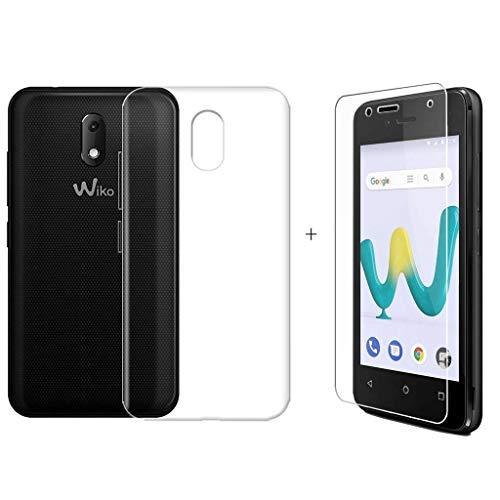 LJSM Wiko Sunny 3 Mini Hülle Transparent + Panzerglas Bildschirmschutzfolie Schutzfolie - Weich Silikon Schutzhülle Crystal Flexibel TPU Tasche Case für Wiko Sunny 3 Mini (4.0