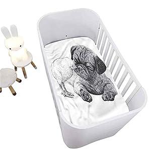Pug Crib Fitted Sheet,Pug Little Chick Hand Drawn Decorative Microfiber Crib Sheet for Standard Crib and Toddler mattresses Nursery Bedding Sheet Crib Mattress Sheets for Boys and Girls,28″ x 52″