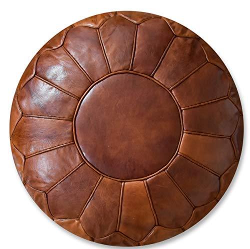 See the Good XL Echtleder Pouf - Handgefertigt - gefüllt geliefert - Ottoman Sitzsack Fußhocker Puff (Honigbraun)