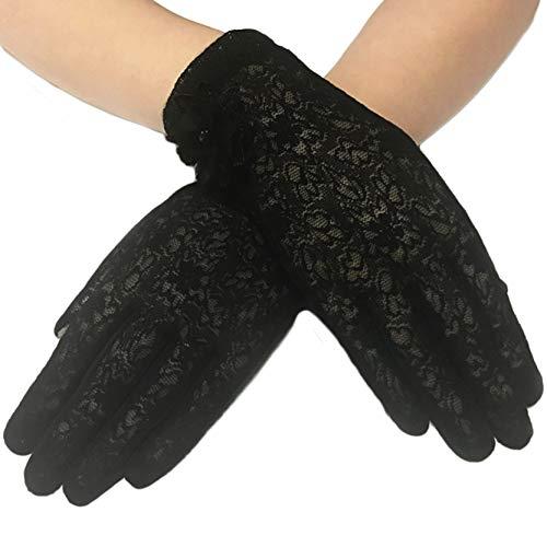 ArtiDeco Damen Lace Handschuhe Satin Braut Hochzeit Spitze Handschuhe Opera Fest Party Handschuhe 1920s Handschuhe Damen Kostüm Accessoires (Kurz Blume Schwarz)