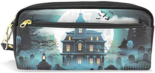 Geldbörse Halloween Schloss Friedhof Mond Bleistift Fall Briefpapier Kosmetiktasche Geldbörse große Kapazität wasserdichte Frauen