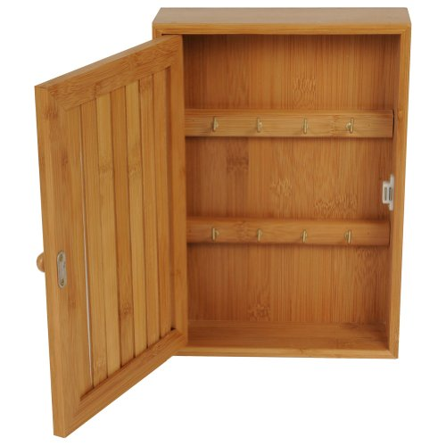 Edco 8 Key Hooks Bamboo Wooden Box Cabinet Storage Locking