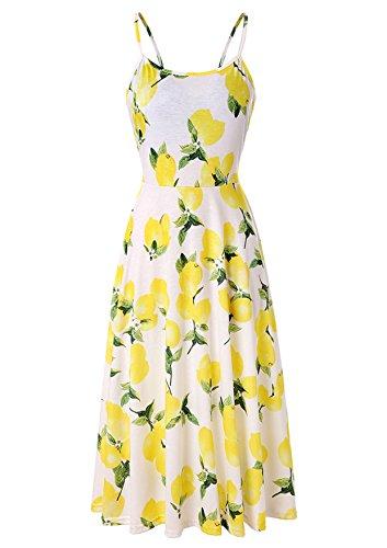 Ehpow Sommerkleid Damen Ärmelloses Blumen Swing Sommerkleid verstellbaren Spagettiträgern Cocktailkleid (Large, fl1)