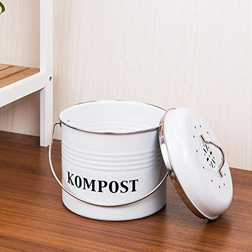 Cuttey Bio Mülleimer küche -5L Kompost Tonne Kompostbehälter garten, Retro-Kücheneimer Mit Deckel, Innen Mülleimer Kohlefilter Eimer, Mülleimer Wächter Container Eimer geruchsdichter Komposter trusted