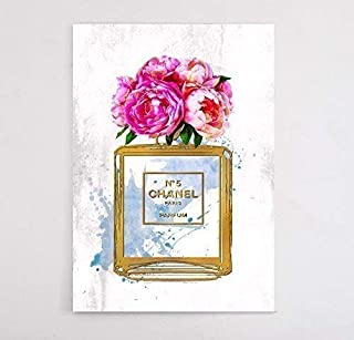Fashion Glam Wall Art Canvas Print Designer Perfume Bottle Flower