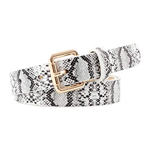 Cinturón vintage para mujer Cinturones delgados de cintura fina patrón de serpiente vestido de jeans salvajes cinturón decorativo Blanco