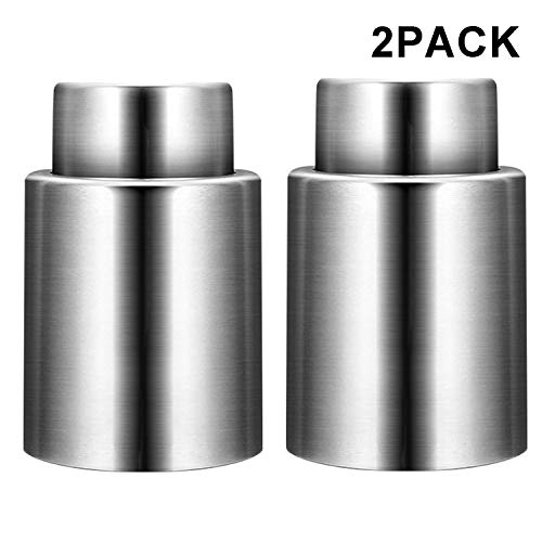 Wine Stoppers with Vacuum, Stainless Steel Wine Saver Pump with Silicone, Durable Vacuum Bottle...