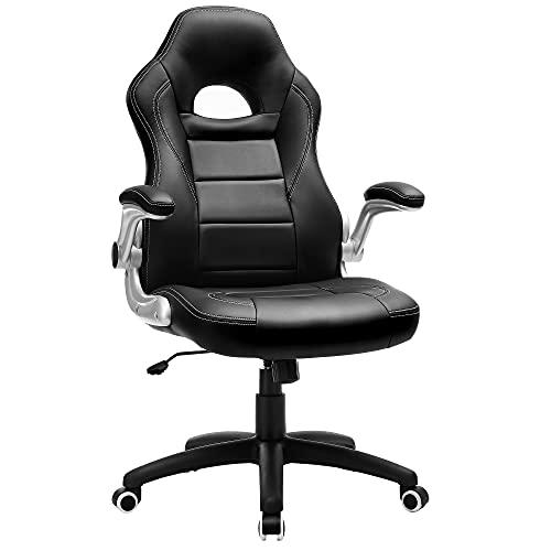 SONGMICS Gamingstuhl, Racing Chair, Schreibtischstuhl mit hoher Rückenlehne, Bürostuhl, höhenverstellbar, hochklappbare Armlehnen, Wippfunktion, für Gamer, schwarz OBG28B