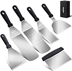 Overmont Griddle Accessories Tool Kit 6 Piece Professional Grill Spatula & Scraper Set Flipper Stainless Steel for Flat Top Grill Hibachi BBQ Camping Cooking Dishwasher Safe