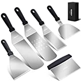 Overmont Griddle Accessories Tool Kit 6 Piece Professional Grill Spatula & Scraper Set Flipper...