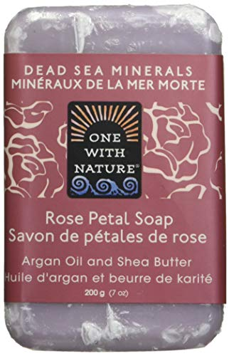 One With Nature Rose Petal Dead Sea Mineral Soap, 7 Ounce Bars (Pack of 6) by One With Nature