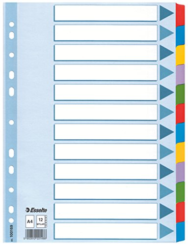 Esselte A4 12 Separadores Archivador, Azul/Multicolor, Cartón Rígido Reciclado, 12 Pestañas con Carátula de Índice, 100169